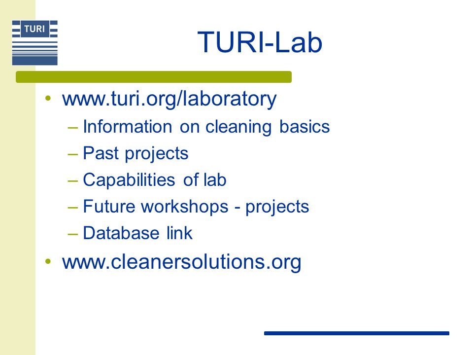 TURI-Lab www.turi.org/laboratory www.cleanersolutions.org