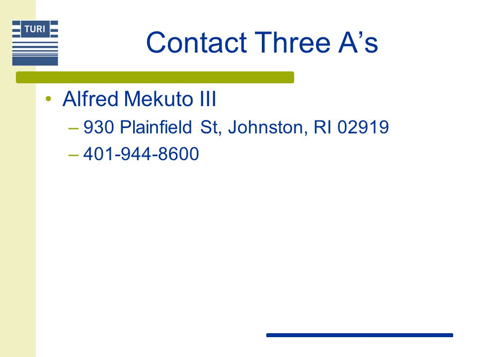 Contact Three A's Alfred Mekuto III