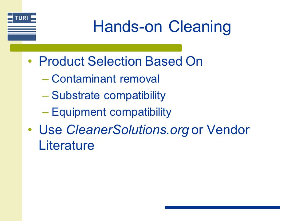 Hands-on Cleaning Product Selection Based On