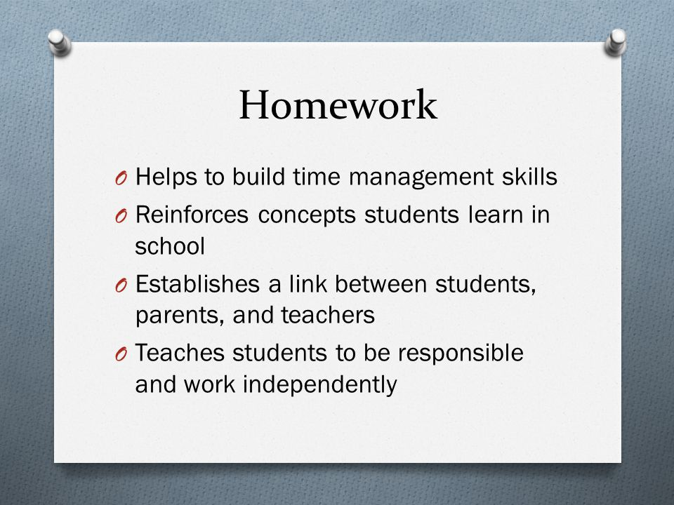 Homework Helps to build time management skills
