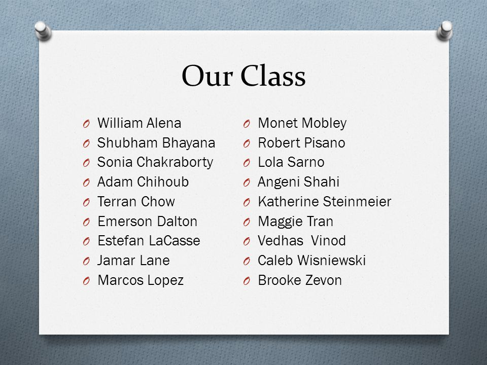Our Class William Alena Monet Mobley Shubham Bhayana Robert Pisano