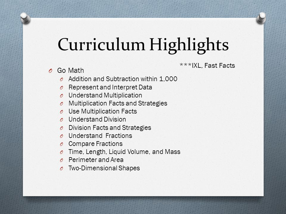 Curriculum Highlights