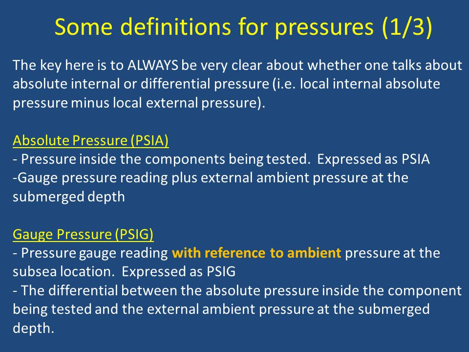 Some definitions for pressures (1/3)