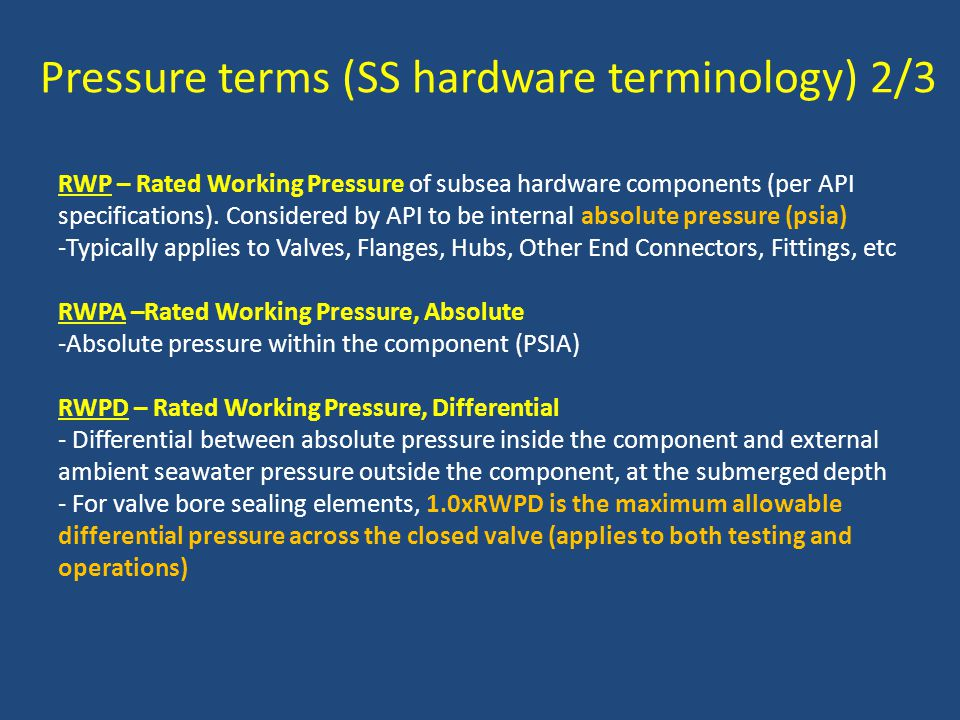 Pressure terms (SS hardware terminology) 2/3