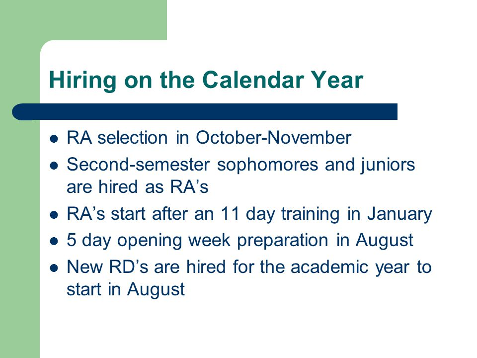 Hiring on the Calendar Year