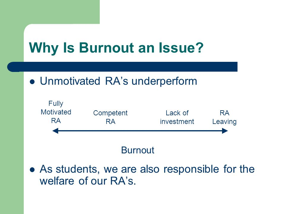 Why Is Burnout an Issue Unmotivated RA's underperform