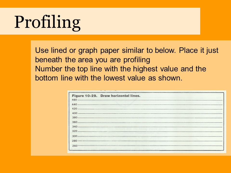 Profiling Use lined or graph paper similar to below. Place it just beneath the area you are profiling.