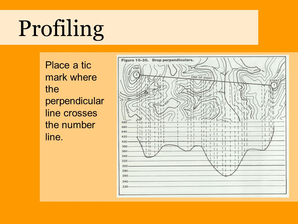 Profiling Place a tic mark where the perpendicular line crosses the number line.