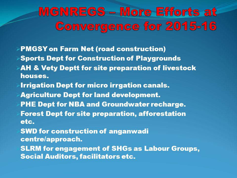 MGNREGS – More Efforts at Convergence for 2015-16
