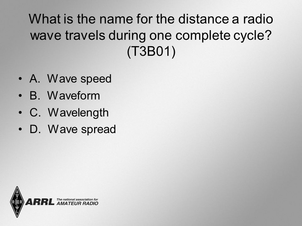 What is the name for the distance a radio wave travels during one complete cycle (T3B01)