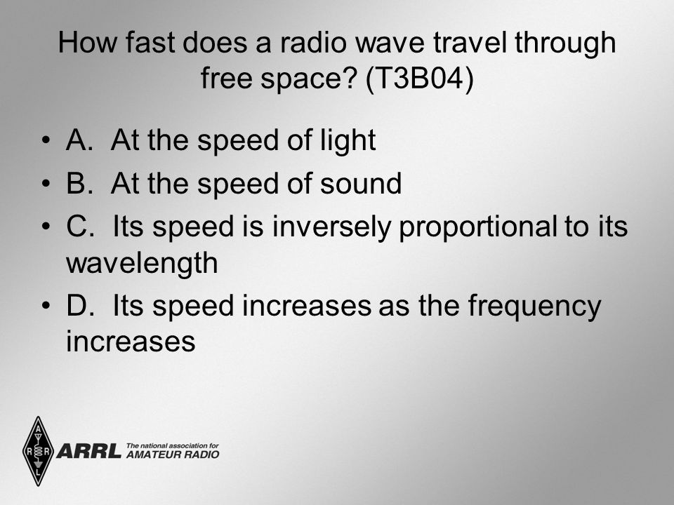 How fast does a radio wave travel through free space (T3B04)