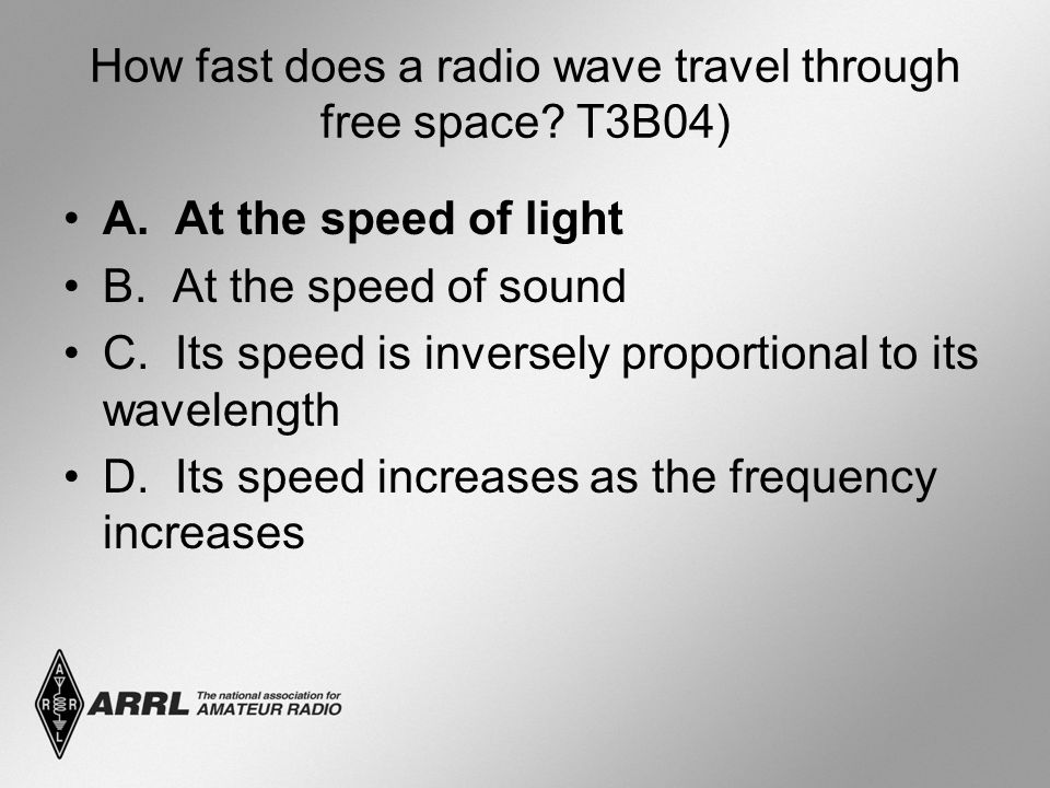 How fast does a radio wave travel through free space T3B04)