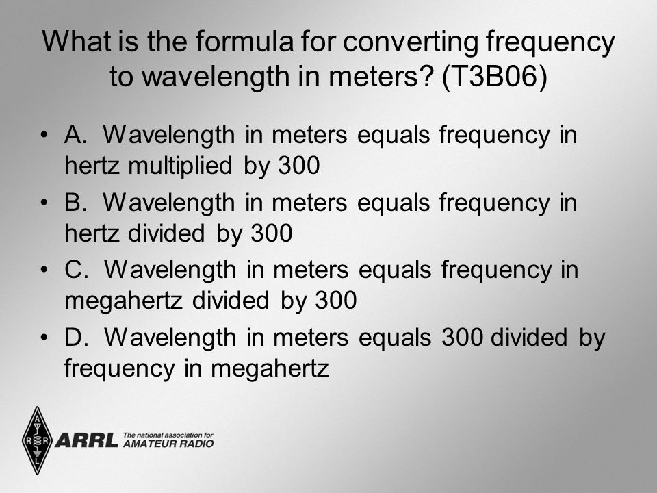 What is the formula for converting frequency to wavelength in meters