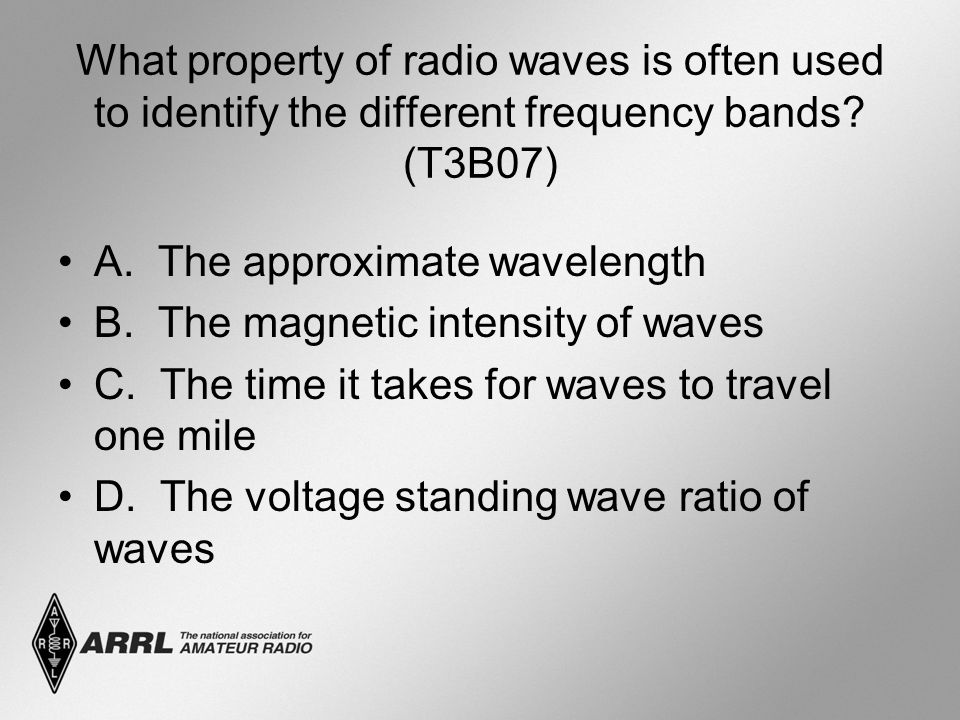 What property of radio waves is often used to identify the different frequency bands (T3B07)