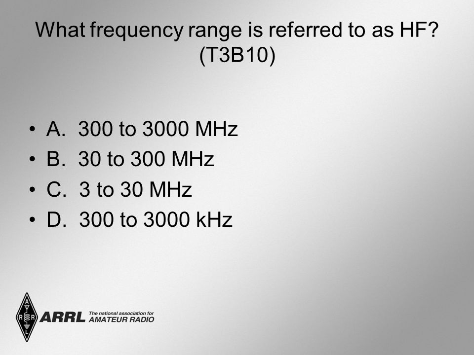 What frequency range is referred to as HF (T3B10)