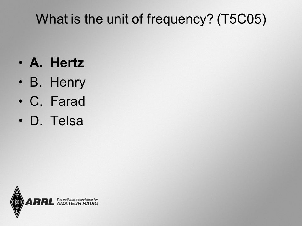 What is the unit of frequency (T5C05)