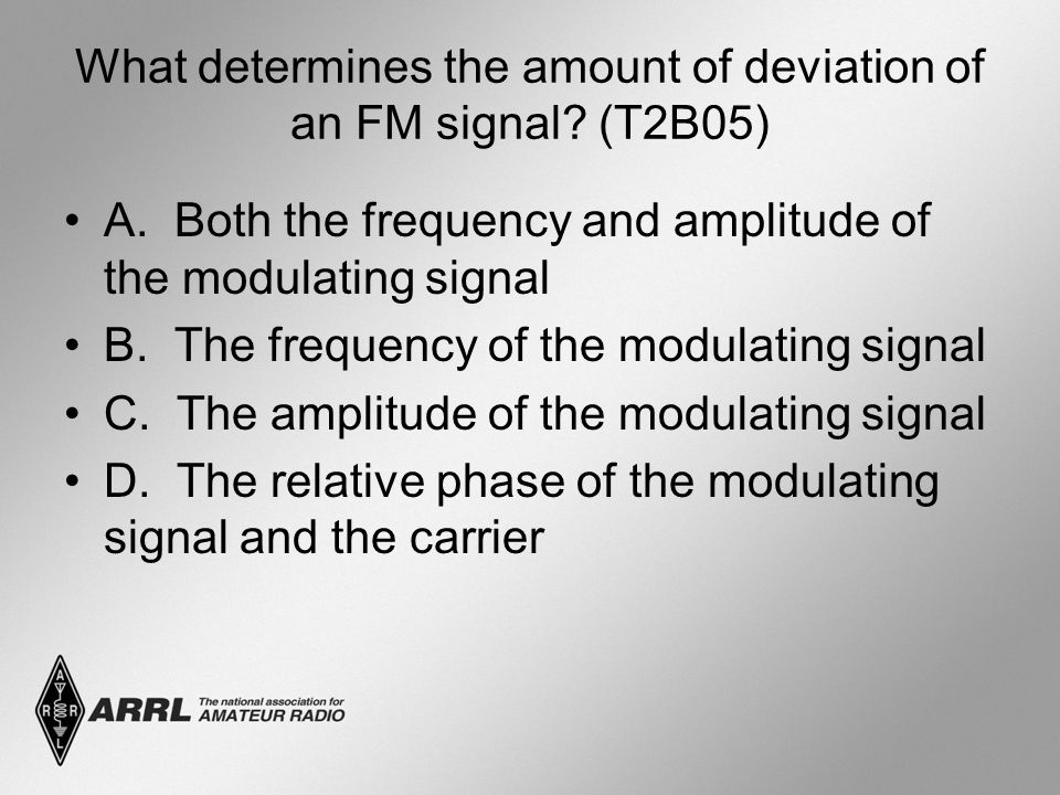 What determines the amount of deviation of an FM signal (T2B05)