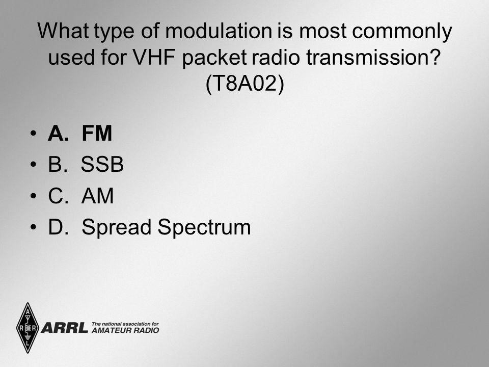 What type of modulation is most commonly used for VHF packet radio transmission (T8A02)