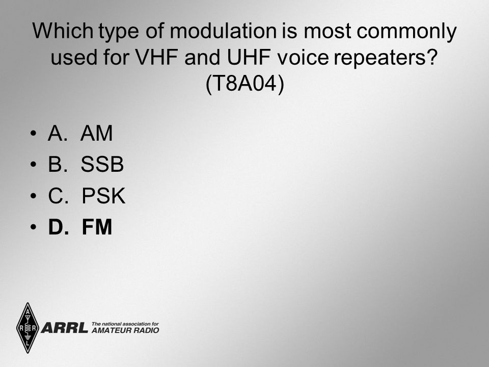 Which type of modulation is most commonly used for VHF and UHF voice repeaters (T8A04)