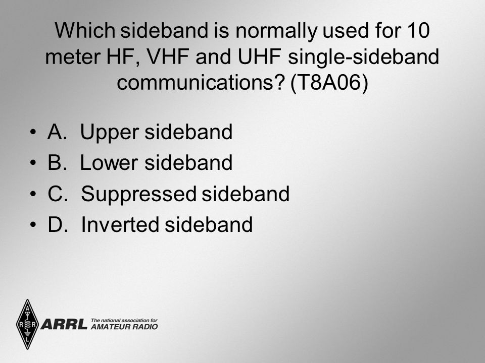Which sideband is normally used for 10 meter HF, VHF and UHF single-sideband communications (T8A06)