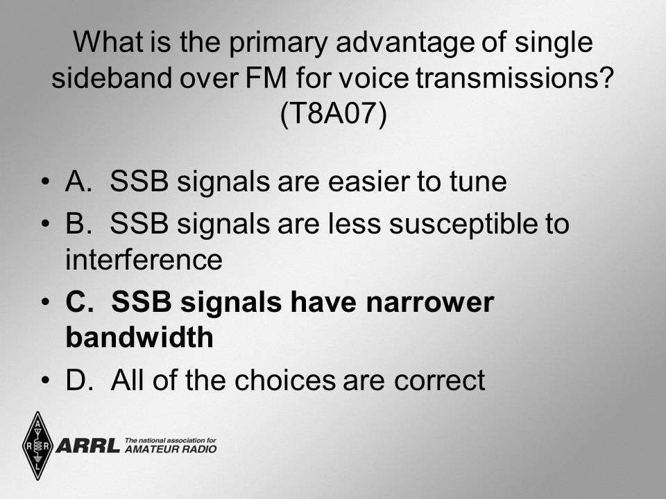What is the primary advantage of single sideband over FM for voice transmissions (T8A07)