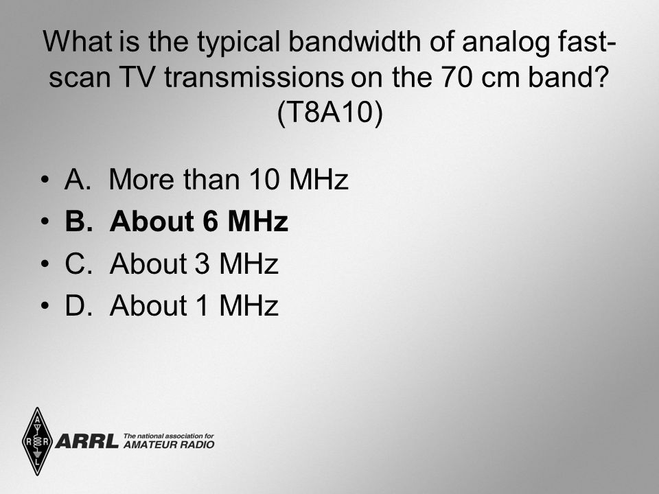 What is the typical bandwidth of analog fast-scan TV transmissions on the 70 cm band (T8A10)