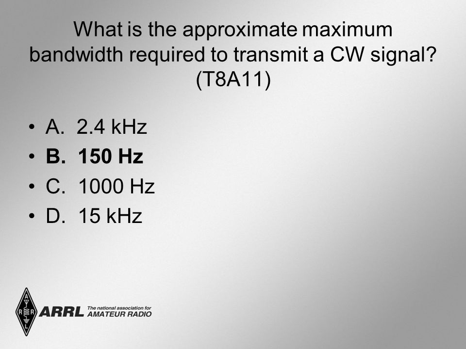 What is the approximate maximum bandwidth required to transmit a CW signal (T8A11)