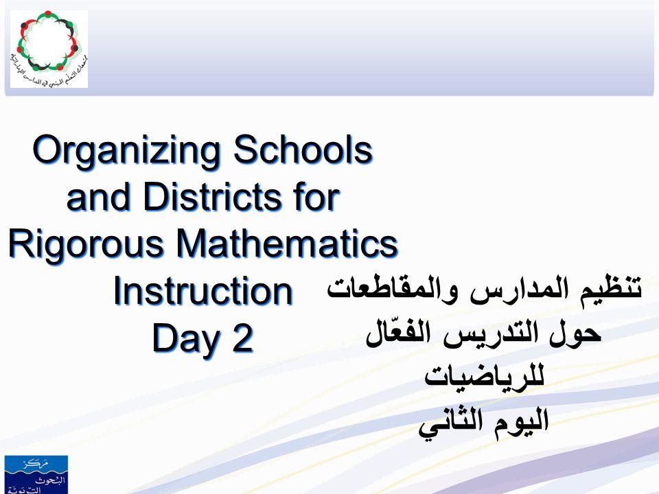 تنظيم المدارس والمقاطعات حول التدريس الفعّال للرياضيات