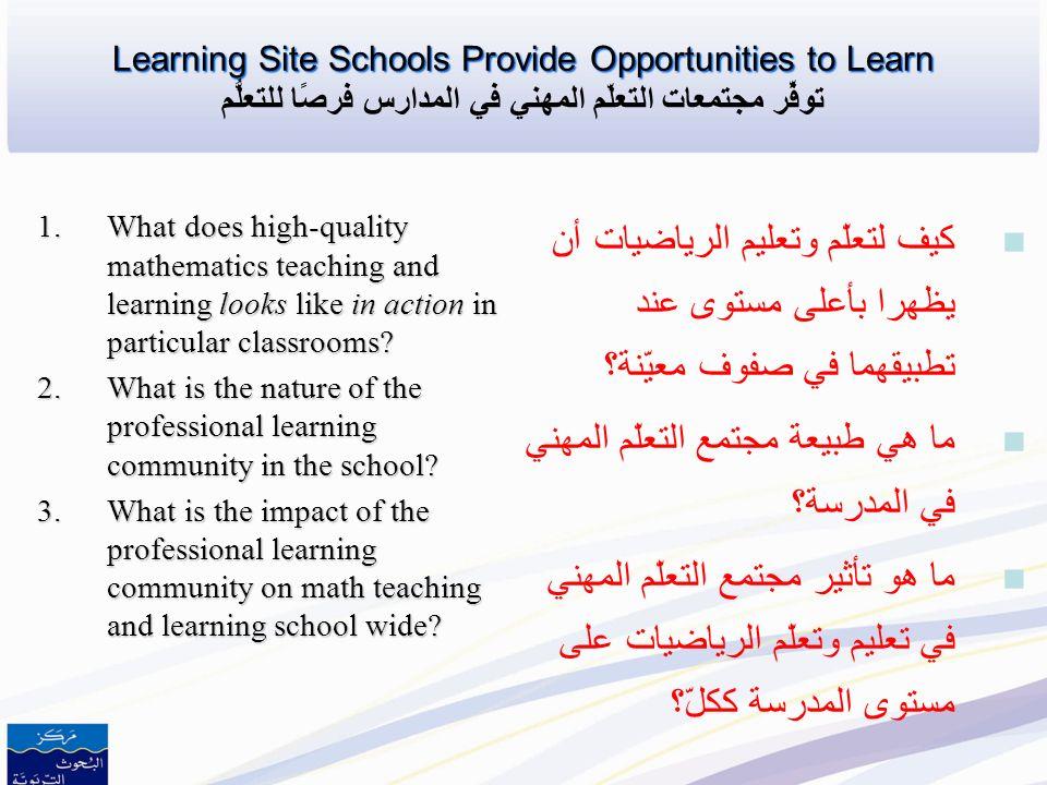 ما هي طبيعة مجتمع التعلّم المهني في المدرسة؟