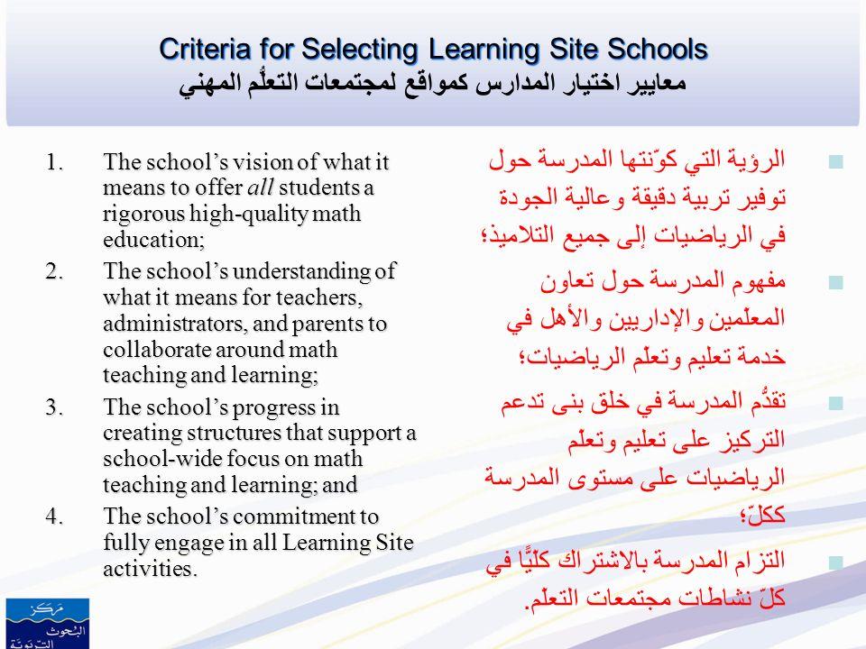 التزام المدرسة بالاشتراك كلّيًّا في كلّ نشاطات مجتمعات التعلّم.