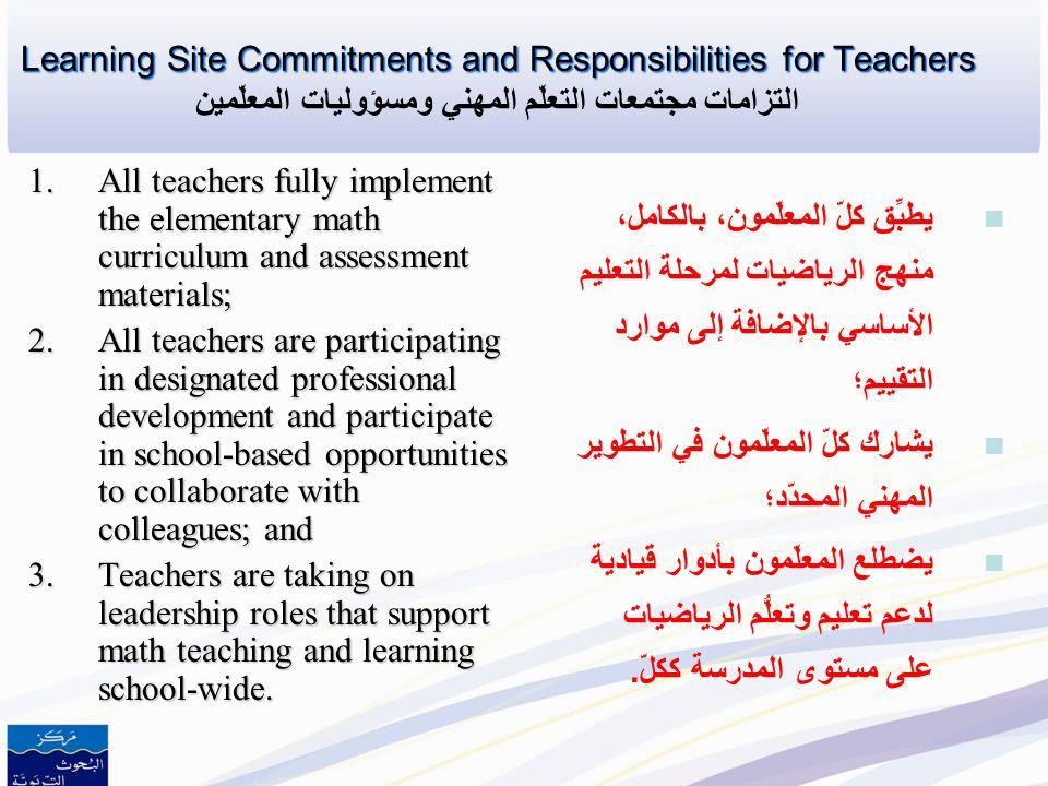 Learning Site Commitments and Responsibilities for Teachers التزامات مجتمعات التعلّم المهني ومسؤوليات المعلّمين