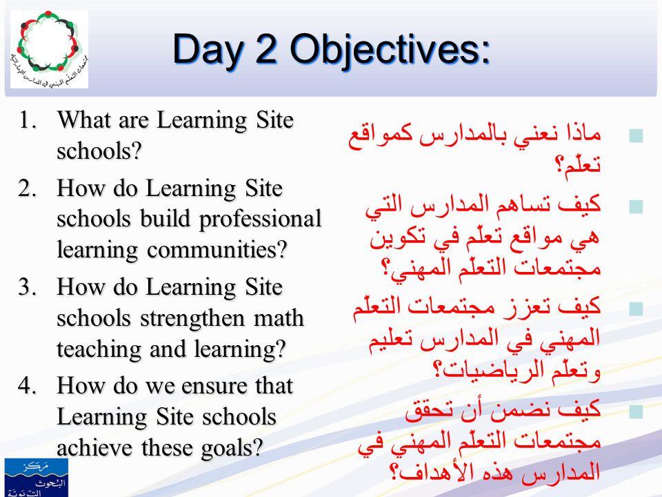 Day 2 Objectives: ماذا نعني بالمدارس كمواقع تعلّم؟