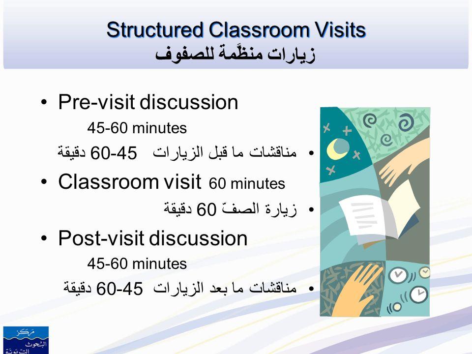 Structured Classroom Visits زيارات منظَّمة للصفوف