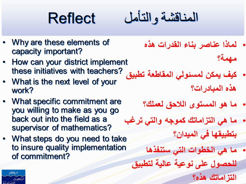 Reflectالمناقشة والتأمل