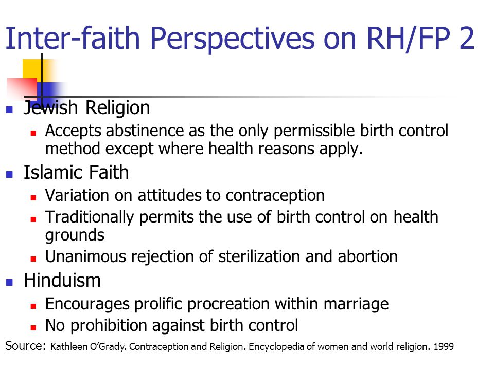 Inter-faith Perspectives on RH/FP 2