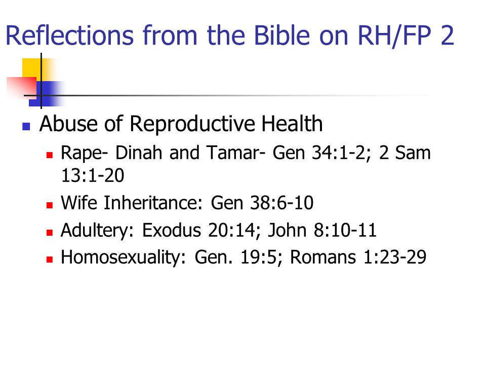 Reflections from the Bible on RH/FP 2