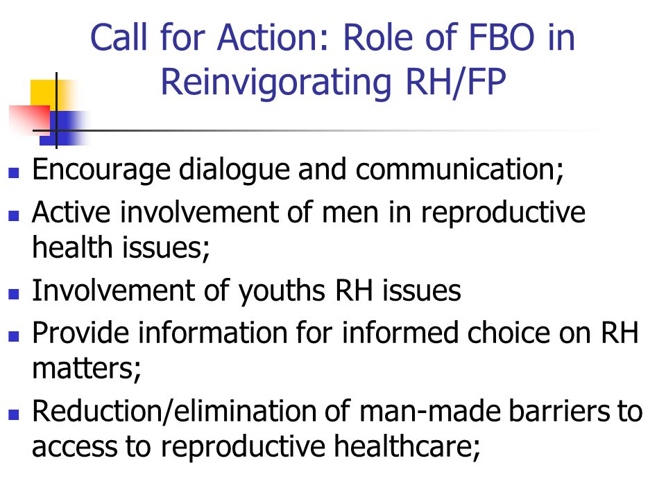 Call for Action: Role of FBO in Reinvigorating RH/FP