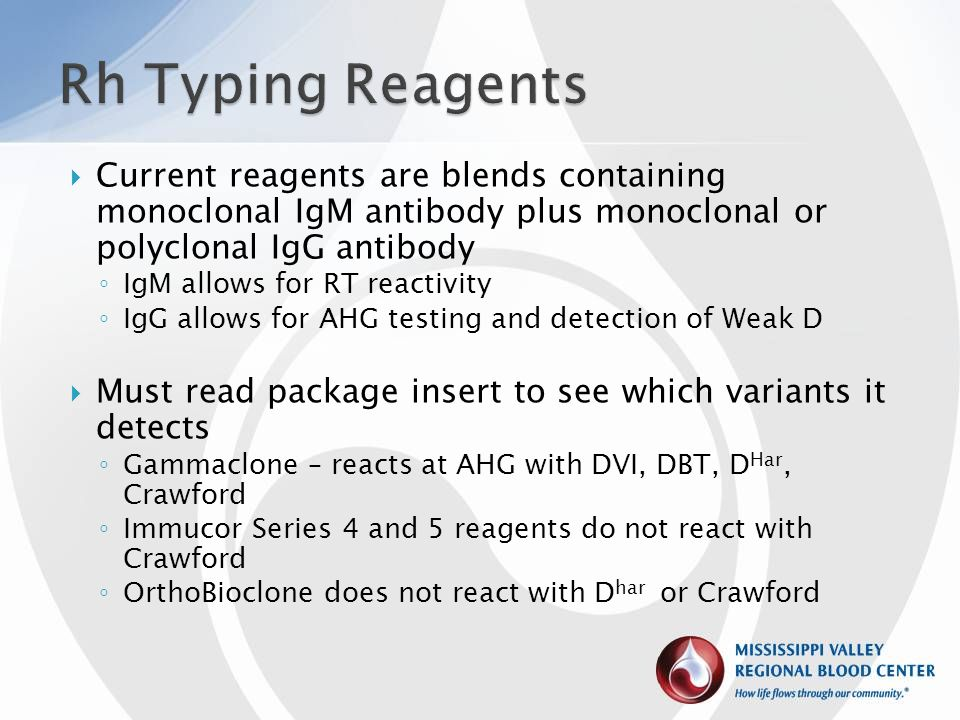 Rh Typing Reagents Current reagents are blends containing monoclonal IgM antibody plus monoclonal or polyclonal IgG antibody.