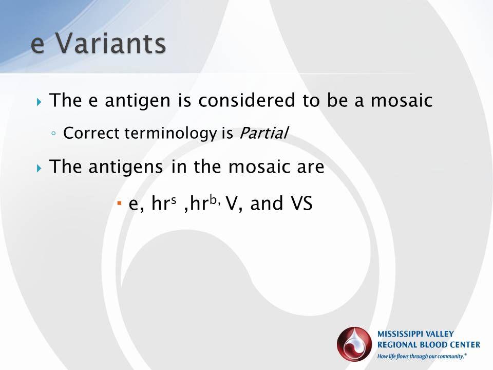 e Variants e, hrs ,hrb, V, and VS