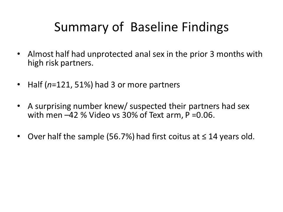 Summary of Baseline Findings