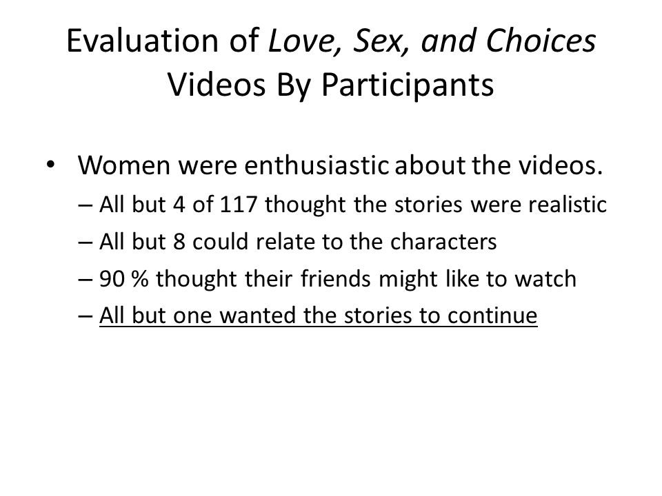 Evaluation of Love, Sex, and Choices Videos By Participants