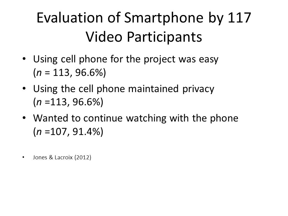 Evaluation of Smartphone by 117 Video Participants