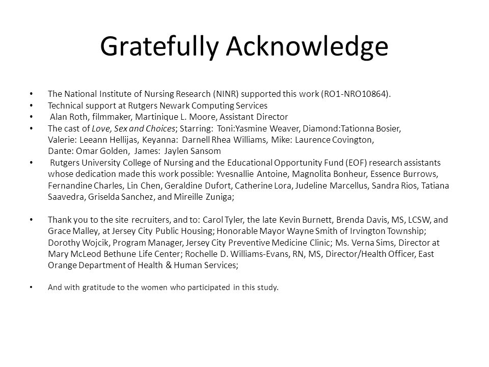 Gratefully Acknowledge