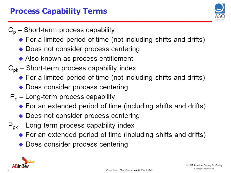 Process Capability Terms