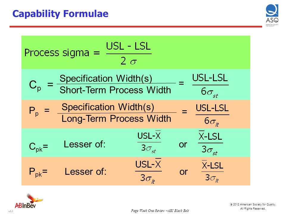 Cp = Capability Formulae Specification Width(s)