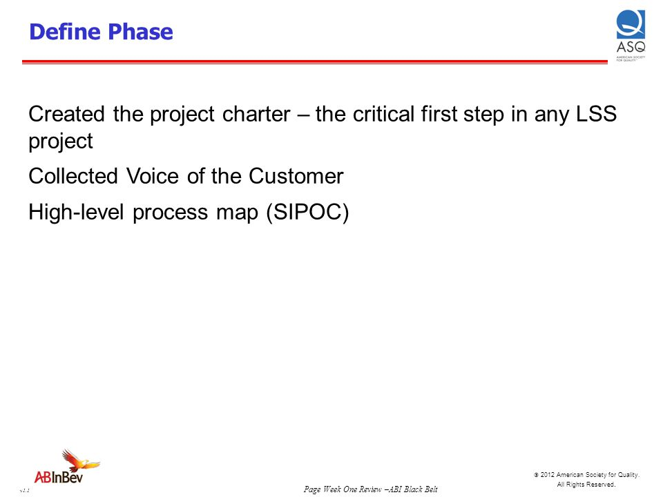 Define Phase Created the project charter – the critical first step in any LSS project. Collected Voice of the Customer.