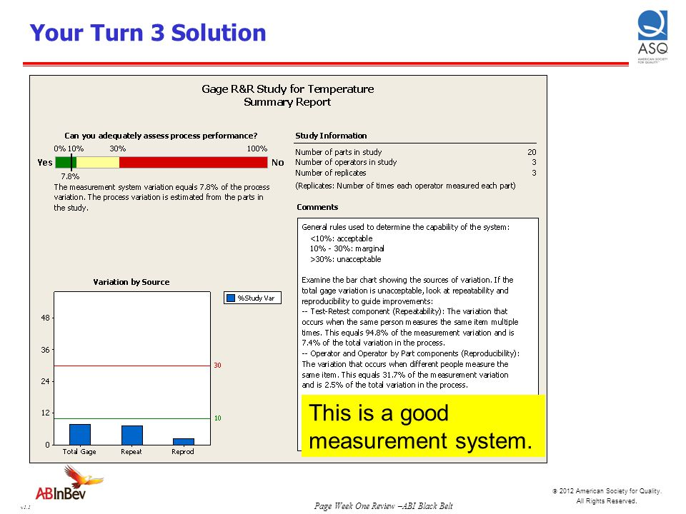 Your Turn 3 Solution This is a good measurement system.
