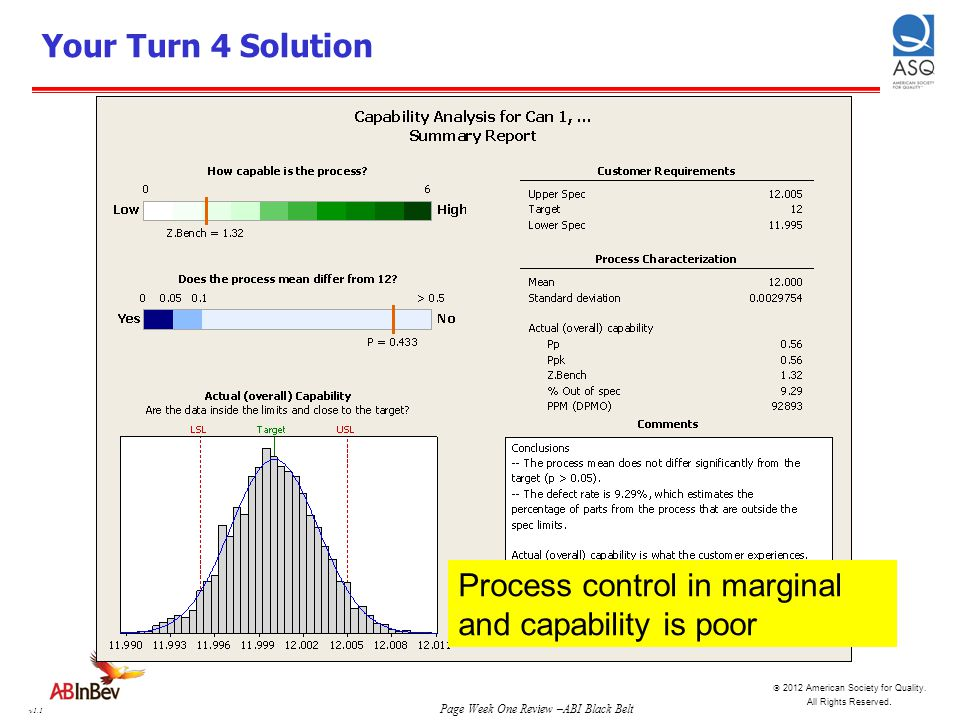 Your Turn 4 Solution Process control in marginal and capability is poor