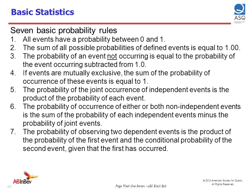 Seven basic probability rules