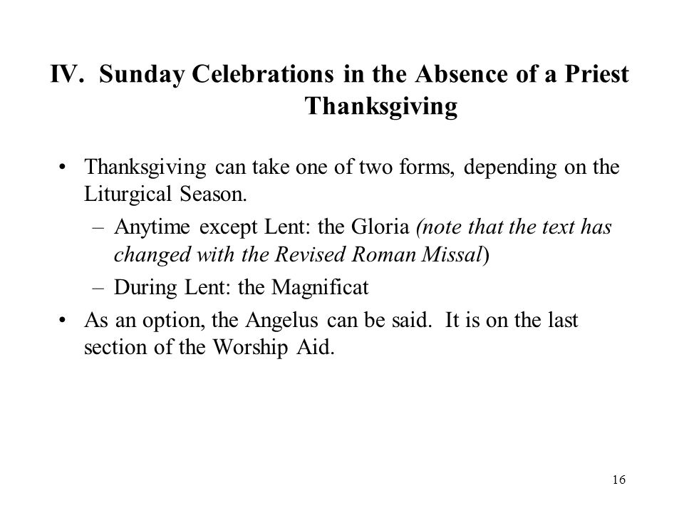 IV. Sunday Celebrations in the Absence of a Priest Thanksgiving